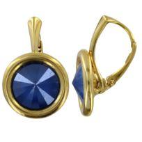Les Poulettes Bijoux - Boucles d Oreilles Dormeuses Argent Doré Swarovski  Rond Cristal - Bleu 307ba8f7a491