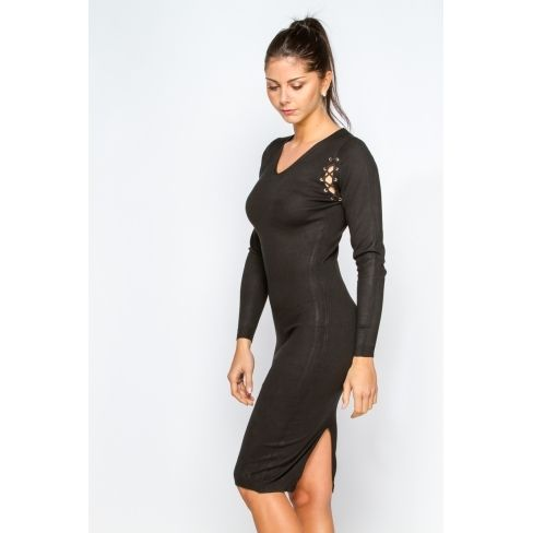 daeeec92946ad Princesse Boutique - Robe pull Noire manches lacées - pas cher Achat ...