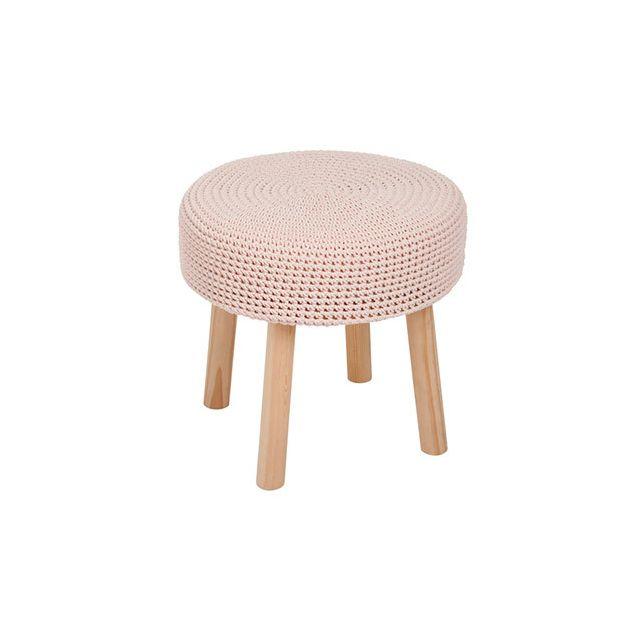 Table gigogne 41x41x38cm en bois et coton rose