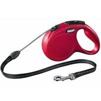 Flexi - Laisse à enrouleur New Classic rouge en corde Taille S Longueur 8 m chiens < 12 kg