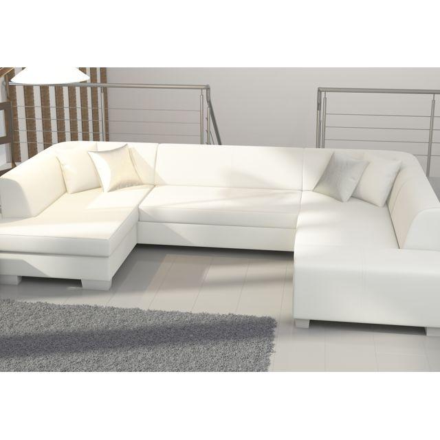 Canapé d'angle convertible panoramique blanc JAMES