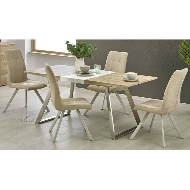Carellia Table A Manger Design Rectangulaire Extensible - L : 130÷170 X P : 80 Cm X H : 76 Cm - Couleur : Chene Clair / Blanc