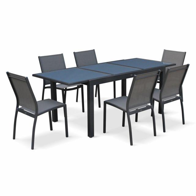 alice 39 s garden salon de jardin table extensible orlando gris fonc table en aluminium 150. Black Bedroom Furniture Sets. Home Design Ideas