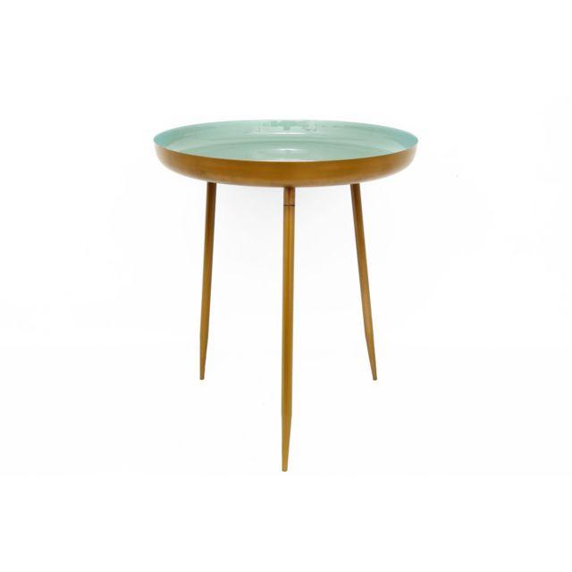 Heart Of The Home Table d'appoint en métal Silvia - Diam. 46 x H. 55 cm - Vert d'eau