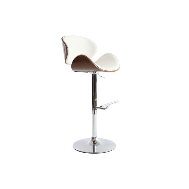 miliboo tabouret de bar design blanc et bois fonc walnut pas cher achat vente tabourets. Black Bedroom Furniture Sets. Home Design Ideas