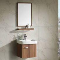Miroir salle de bain avec tablette en bois - Achat Miroir salle de ...