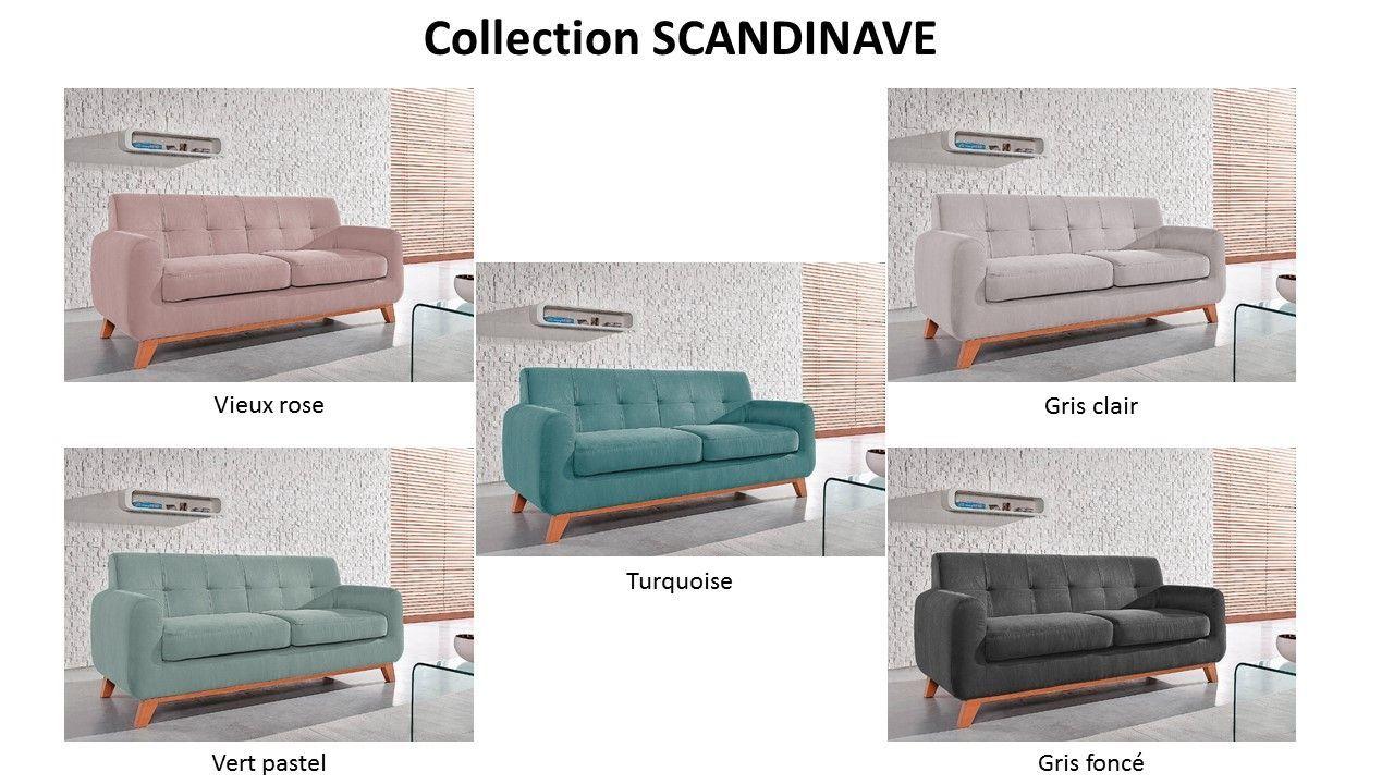 Canapé Scandinave fixe 3 places - Vert