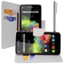 Vcomp - Housse Coque Etui portefeuille Support Video Livre rabat cuir Pu effet tissu pour Wiko Rainbow + stylet - Blanc