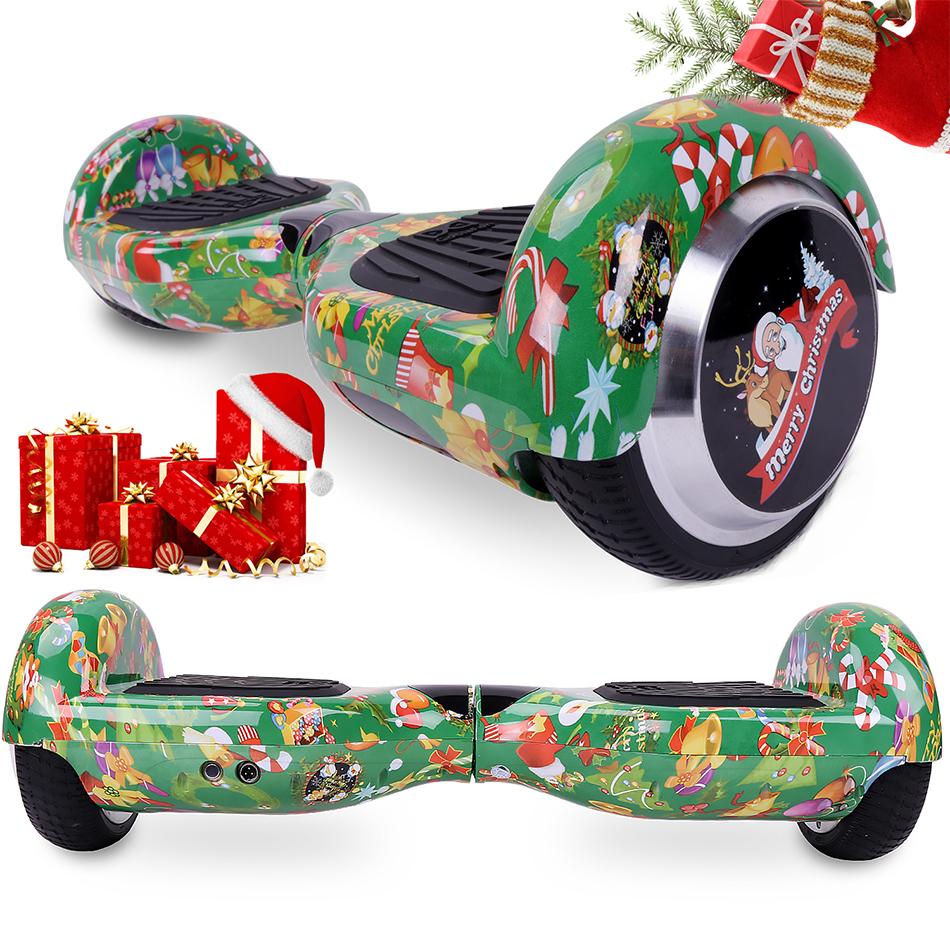COOL&FUN Hoverboard Spécial Noël, Scooter électrique Auto-équilibrage,gyropode 6,5 pouces Spécial Noël vert + Housse de Protection Mixage Rouge Vert