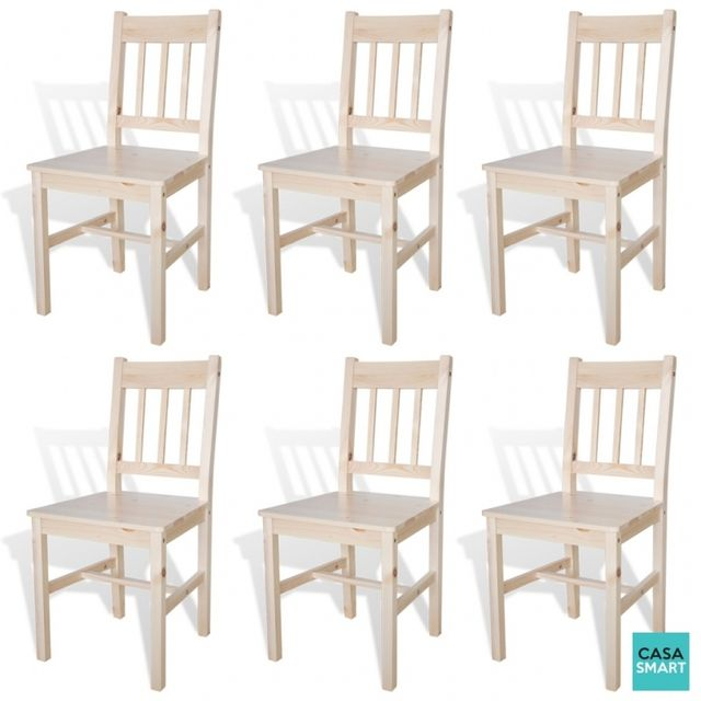 Casasmart Lot de 6 chaises Thomas en bois naturel
