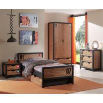 Modern Life - Ensemble alex 5 éléments : Lit+ tiroir+chevet + armoire deux portes+ commode