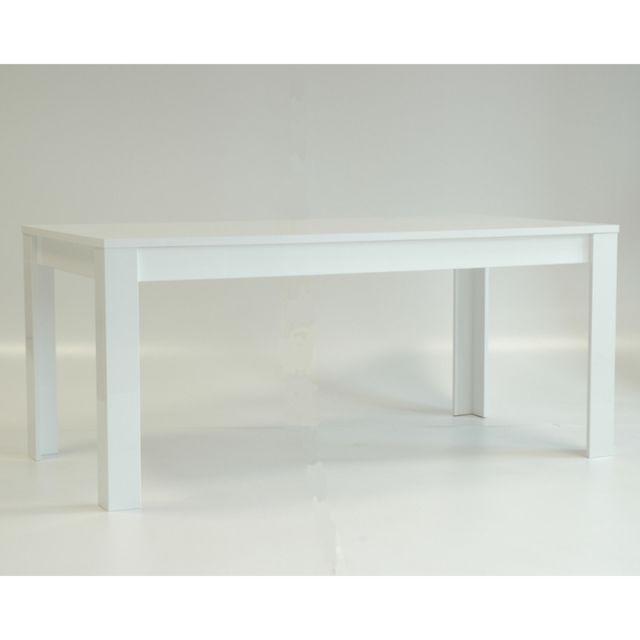 Tousmesmeubles Table de repas 160 cm laqué Blanc brillant - Pisa