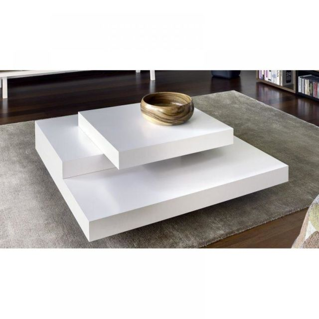 Inside 75 Slate table basse design blanc mate
