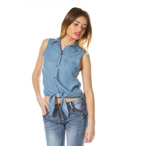 Princesse Boutique - Top en jean Bleu Claire noué - pas cher Achat ... 0333d014f35