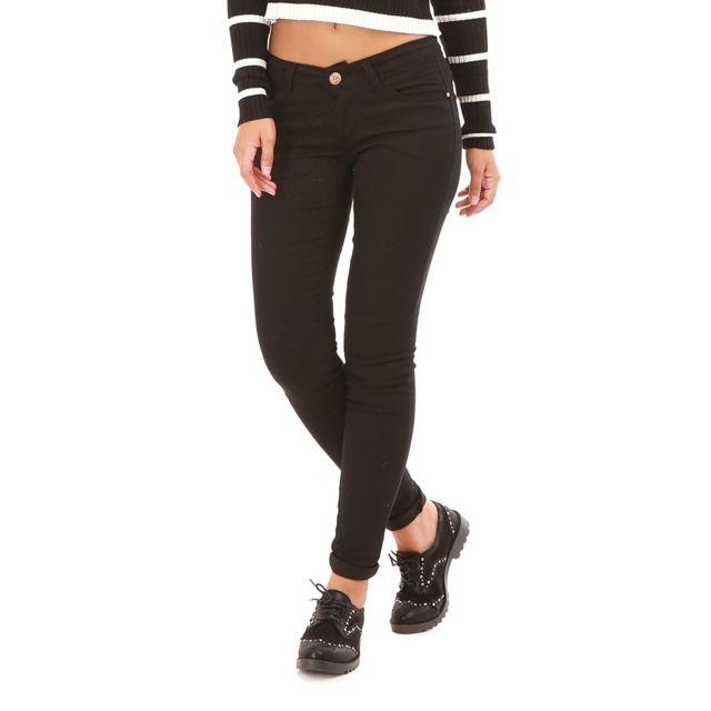 468e9dc5091dd Lamodeuse - Jeans noir avec noeuds décoratifs et strass - pas cher ...