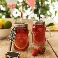 Kilner - Coffret 2 bocaux avec anse en verre avec 2 pailles et étiquettes Drinking