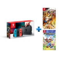 Console Switch Couleurs + Mario Lapins Crétins + Dragon Ball FighterZ