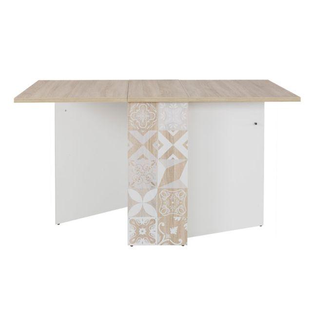 Tousmesmeubles Table de repas pliante Bois clair/Blanc - Ethan
