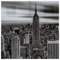 """Paris Prix - Cadre Déco en Verre """"New York"""" 50x50cm Noir & Blanc"""