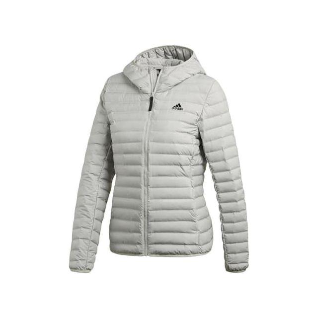 Adidas - Veste Varilite Soft Hooded gris clair femme - pas cher Achat    Vente Blousons, vestes - RueDuCommerce a89aa820e89