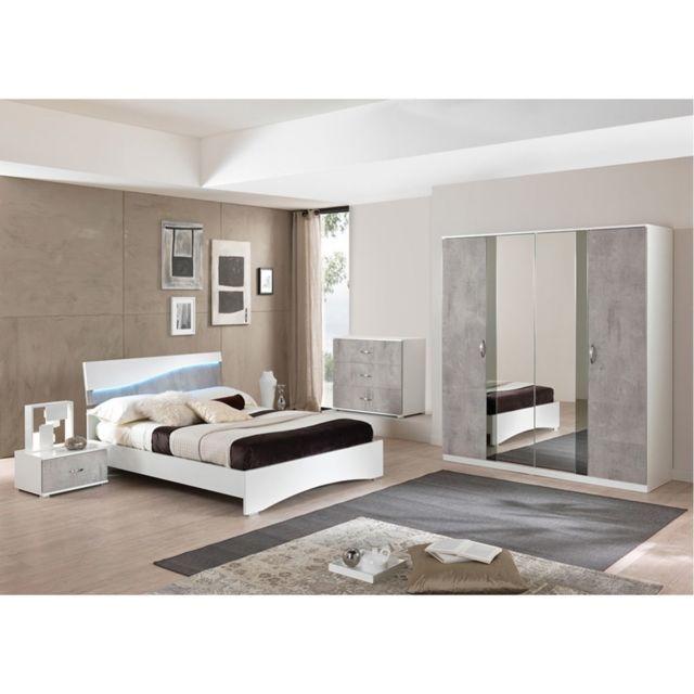 Altobuy Lidwina - Chambre Complète 160x200cm avec Armoire