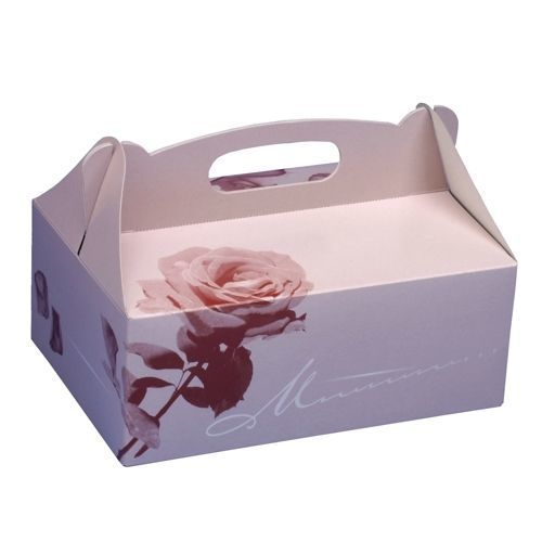 Papstar 150 Boîtes à gateaux, en carton, rectangulaire, 23 cm x 16 cm x 9 cm, rosé, avec poignée - 18852