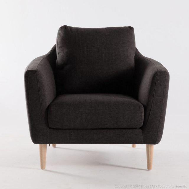 Dlm Fauteuil scandinave en tissu marron avec pieds bois