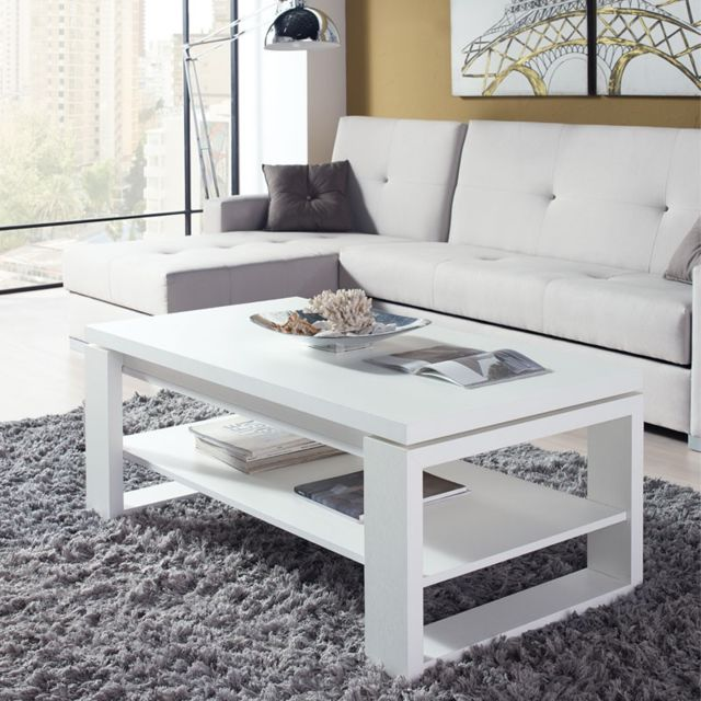 Tousmesmeubles Table basse blanche relevable - Reena