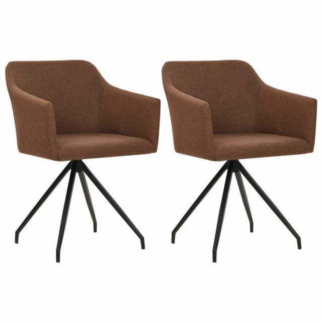 Lot de deux chaises pivotante de salle à manger marron tissu 1902238
