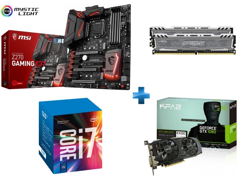 Carte mère Z270 GAMING M7 Socket 1151 - Chipset Z270 Kabylake + Processeur Intel Core i7-7700K 4.20GHz LGA1151 - KABYLAKE + Ballistix Sport LT 16 Go 2 x 8 Go DDR4 - 2400 Mhz - CAS 16 + GeForce GTX 1060 EX OC 6GB