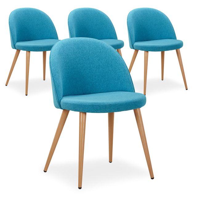 cote cosy lot de 4 chaises scandinaves mood tissu bleu pas cher achat vente chaises. Black Bedroom Furniture Sets. Home Design Ideas