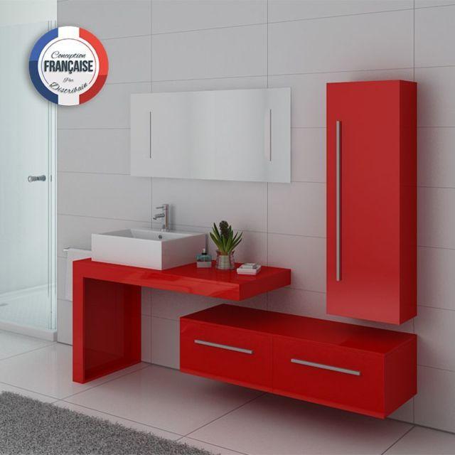 Distribain - Meuble simple vasque Dis9250 Rouge Coquelicot - pas ...