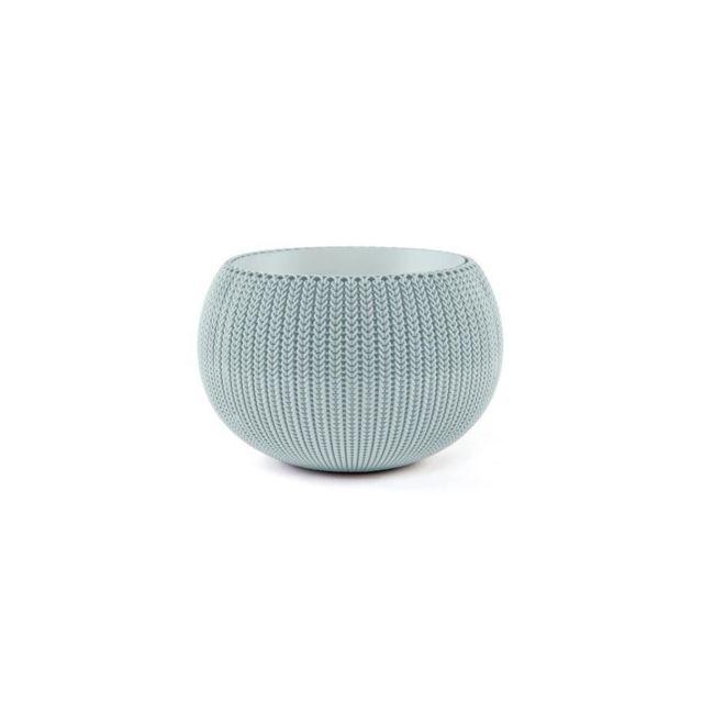 Curver Pot De Fleur Aspect Tricot 36cm Bleu Gris Pas Cher