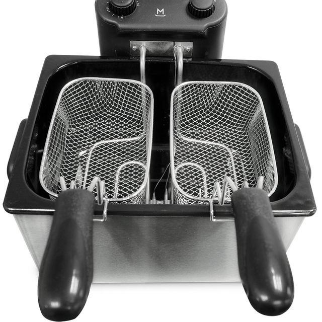 MANDINE Friteuse double semi-professionnelle MDF40-17 Friteuse semi-professionnelle avec zone froide qui évite que les résidus d'aliments ne carbonisent.- Capacité de 4 litres vous permettant de faire jusqu'à 1.2 kg de frites-