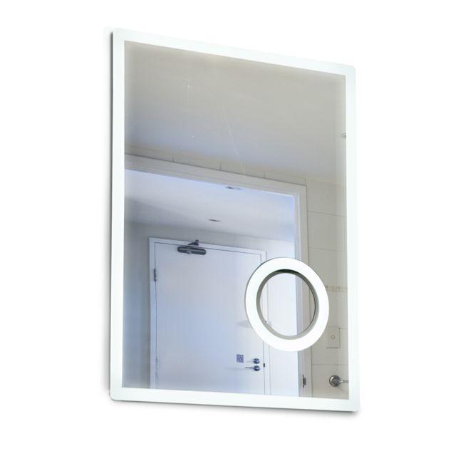 HOMCOM   Miroir Lumineux LED Grossissant De Salle De Bain 65 W Interrupteur  Tactile 60L X