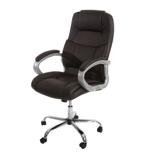 Fauteuil de bureau américain Boston Xxl, charge 150kg, similicuir ~ marron