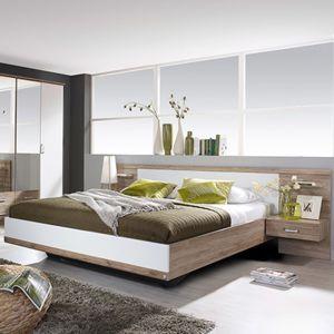 lit en 160x200cm avec 2 chevets t te de lit pas cher achat vente structures de lit. Black Bedroom Furniture Sets. Home Design Ideas
