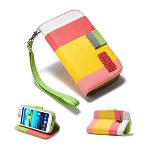 Lapinette - Etui Housse Tri-Couleur Pour Samsung Galaxy S3 Mini + Film - Rose jaune rose