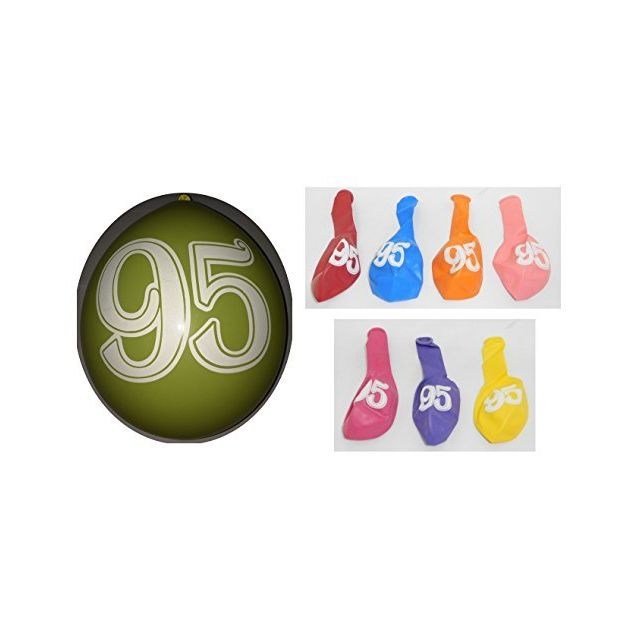 Lot 10 Ballons 95 Ans Multicolore 31cm Decoration Anniversaire