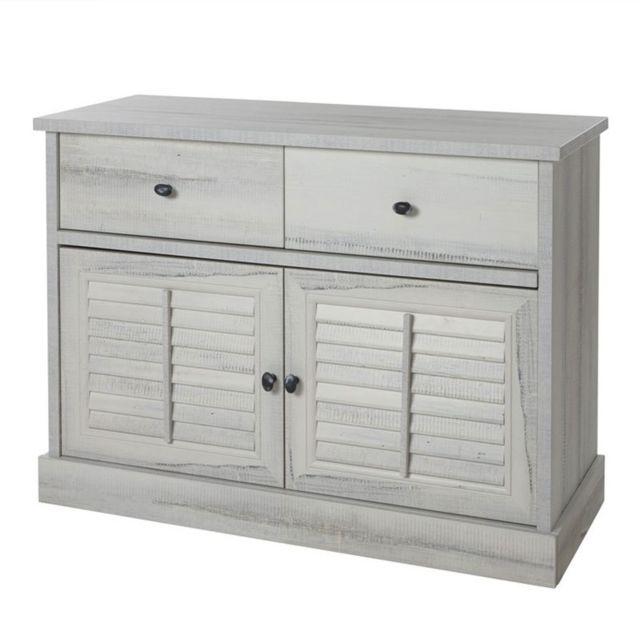 Nouvomeuble Commode contemporaine couleur bois blanc Arizona