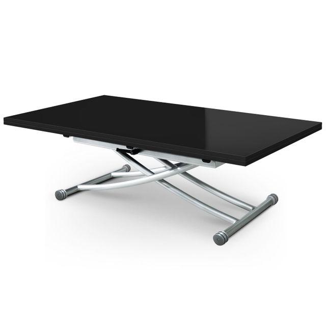 MENZZOPREMIUM Table basse relevable Carrera XL Noir laqué