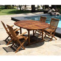Bois Dessus Bois Dessous - Salon de jardin en bois de teck huilé 4/8 personnes - table ovale avec 4 fauteuils