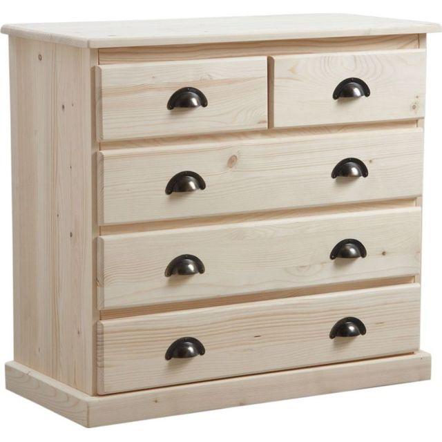 AUBRY GASPARD Commode 5 tiroirs en bois brut