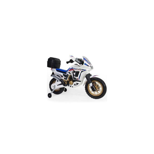 Injusa Moto électrique Honda Africa Twin 6V blanche