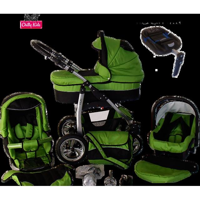 LUX4KIDS - Dino Poussette Trio ISOFIX Nacelle Poussette Canne Siège auto Parasol 22 vert & noir