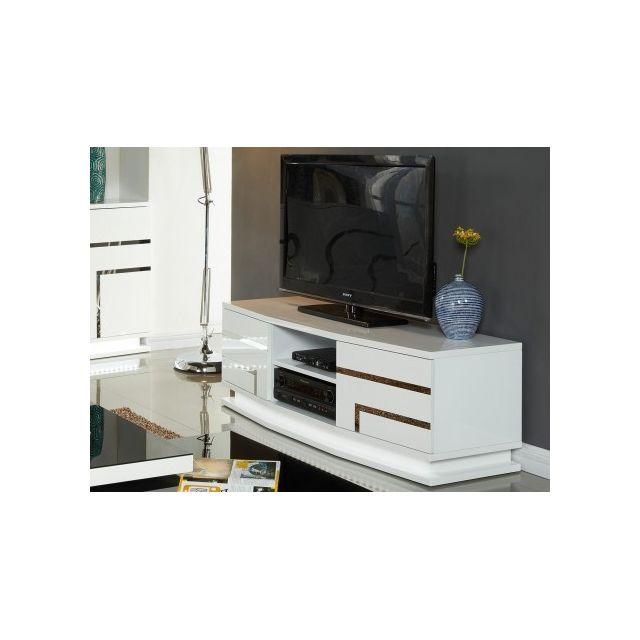 Marque Generique Meuble Tv Luminescence - Mdf laqué blanc et Leds