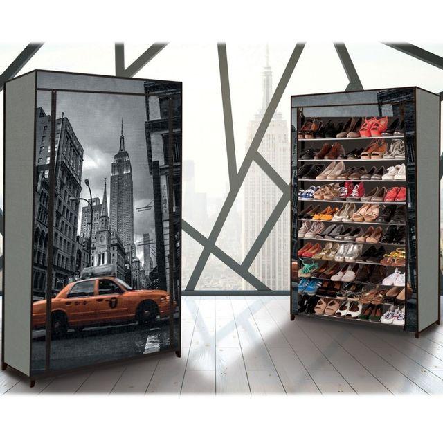 Idmarket Étagère range <strong>chaussures</strong> 50 paires eco avec housse imprimé new york