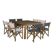 House Bay - Salon de jardin 8 places : 1 table carré en acacia Fsc + 8 fauteuils metteur en scène Studio