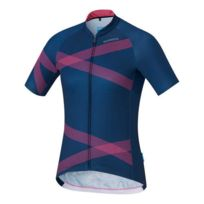 Shimano - Maillot Team manches courtes bleu marine rose femme