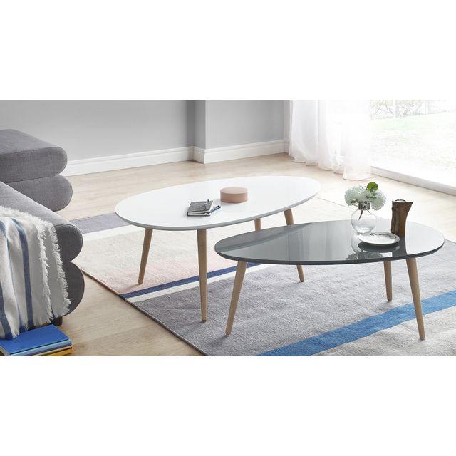 Bobochic Tables Basses Gigognes Scandinaves Lot De 2 Mdf Laque